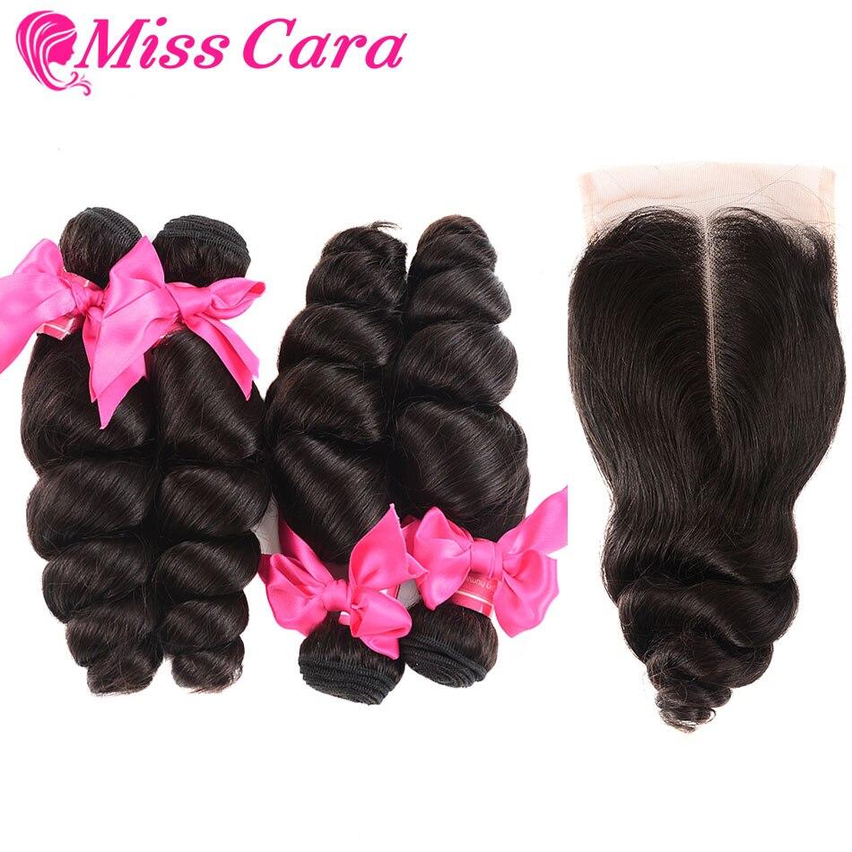 Miss Cara 4 5 Pcs a Lot Peruvian Loose Wave With Closure Human Hair 3 4