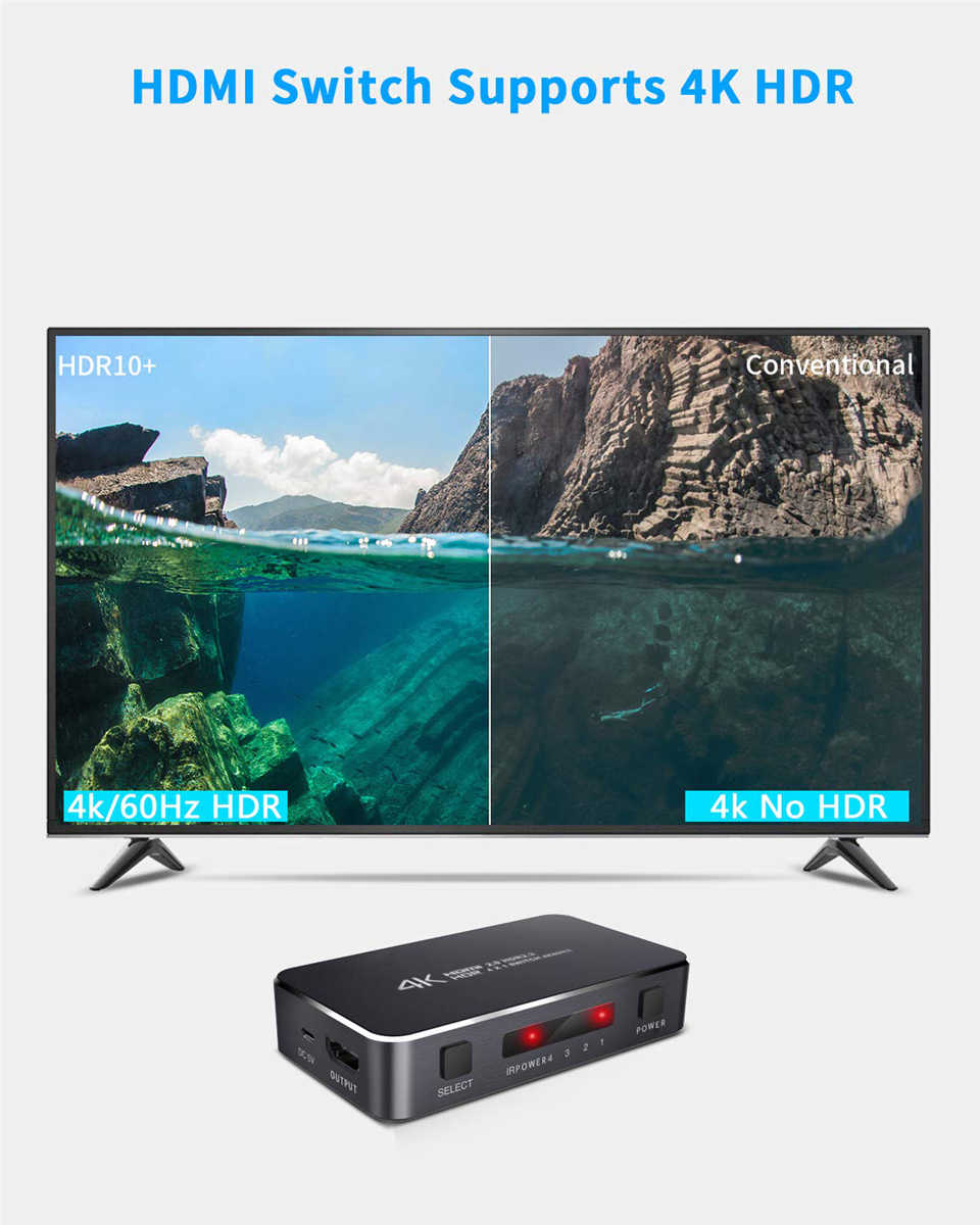 Ugreen HDMI 2.0 K HDMI Switch 1 4x4 Mini HDMI Switch Switcher HUB Box Suporte HDCP 2.2 & IR Remote Control Switch HDMI Splitter