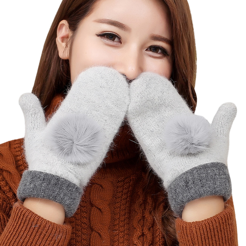 Sparsil Women Winter Knitted Wool Gloves With Rabbit Fur Ball Double Layer Full Finger Thick Warm Female Mittens