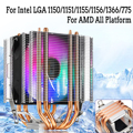 4/3pin LED CPU Kühler Fan 4 Heatpipe Dual Turm 12V Kühler Lüfter Kühlkörper für Intel LAG 1155 1156 775 AMD Sockel AM3/AM2 Lüfter & Kühlung    -