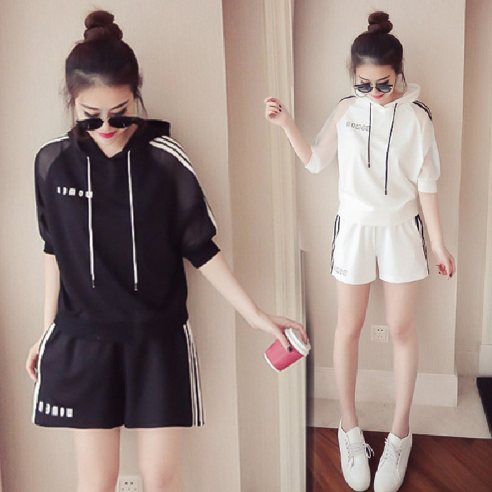 2019 Summer New Style Korean-style Half-sleeve Shirt Hooded Casual Sports WOMEN'S Suit Fashion Loose Shorts Two-Piece Set Fashio
