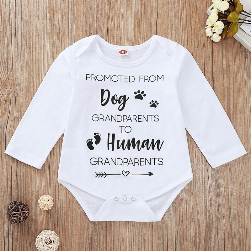Tiny Cottons Newborn Onesie Grandparents Letter Print Long Sleeve Onesie Baby White Newborn Bodysuit Unisex Twin Baby Clothing