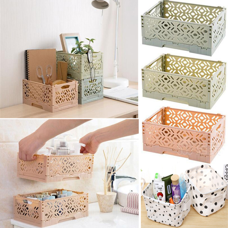 Foldable Storage Bags Plastic Desktop Storage Container Box Underwear Cosmetic Organizer Home Use Storage Basket Storage