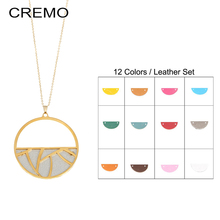 Cremo Simple Classic DIY Pendant Necklace Round Leather Long Sweater Chain Statement Jewelry Choker for Women