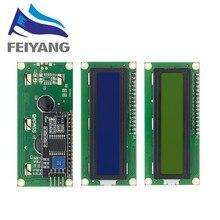 10PCS LCD1602 1602 LCD Módulo Azul/16x2 Caráter Display LCD Tela Verde Amarelo PCF8574T PCF8574 IIC interface I2C 5V