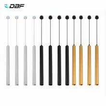 [DBF] długa rurka LED wisiorek światło czarny/złoty/biały 1m drutu wiszące Mini lampa punktowa kuchnia jadalnia lada barowa sklep światło punktowe