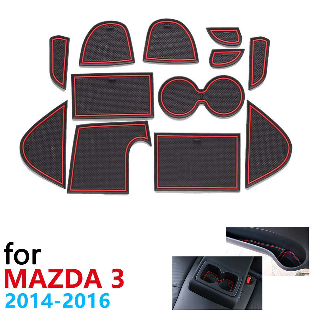Anti-Slip Rubber Cup Cushion Door Groove Mat For Mazda 3 Axela BM MK3 Pre-Facelift 2014 2015 2016 Accessories Mat For Phone