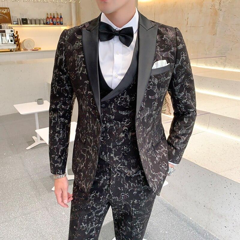 Высококачественный костюм с цветочным принтом для мужчин, комплект из 3 предметов, модный мужской свадебный костюм, приталенный мужской кос...