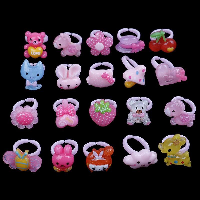 20pcs Love Kids Cute Sweet Rings Design Flower Animal Fashion Accessories Girl Child Gifts Finger Rings Diy Craft Toys
