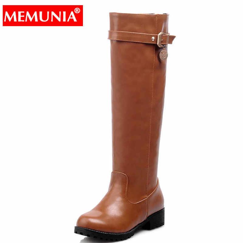 MEMUNIA Artı boyutu 34-43 Yeni kadın botları kare topuk toka diz yüksek çizmeler kadın sonbahar kış ayakkabı