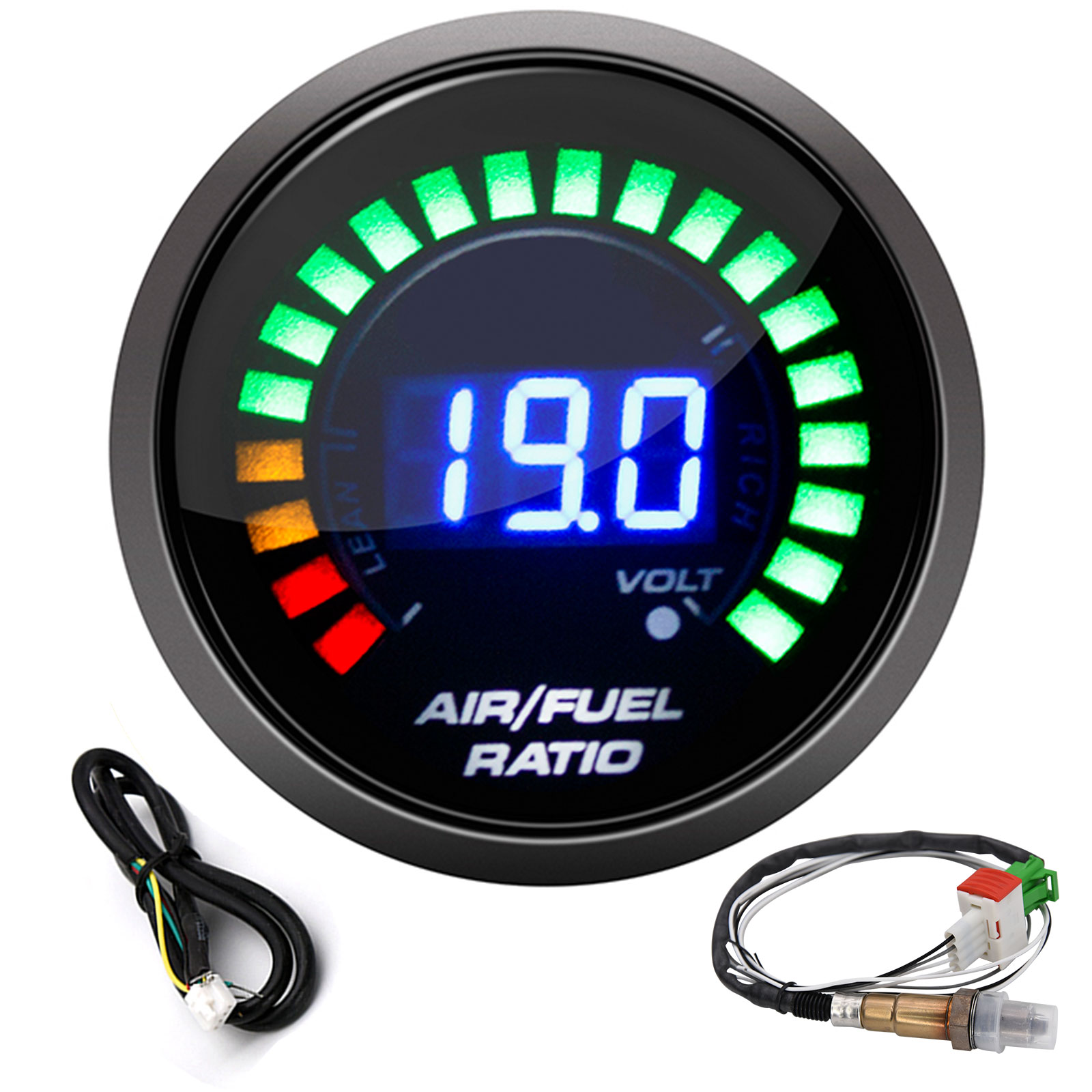 Air Fuel Ratio Gauge Narrowband O2 Oxygen Sensor Car Gauge Digital Display Fit for 12V Car 0258006028
