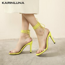 KarinLuna 2020 New Arrivals Plus Size 49 Women Pumps Super High Heels Cross-tied Summer Party Sexy Woman Sandals(China)