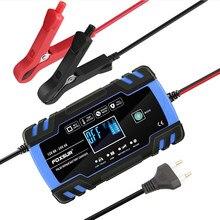 Carregador de bateria de carro 12/24v 8a tela toque reparação pulso lcd de carregamento de energia rápida molhado seco chumbo ácido digital display lcd