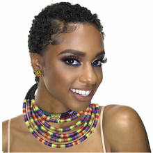 African Multilayer Choker Necklaces Earrings Jewelry Sets Women Bib Collar Statement Necklace Rope Magnetism Button Boho Jewelry indian jewelry set chic style ethnic shining bib choker necklaces earrings party wedding fashion jewelry sets
