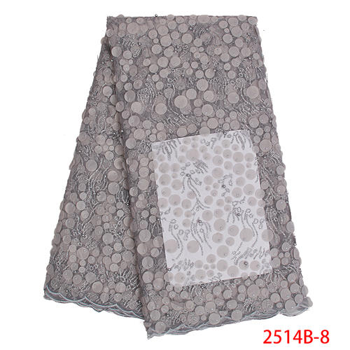 2019 French African Lace Fabric Hot Sale Tulle Fabric Lace With Sequins High Quality Beaded Net For Party Dresses KS2514B-5