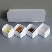 Four Compartment Spice Jars Wall-mounted Waterproof Spice Tins Flip Cover Seasoning Containers Household Kitchen Supplies