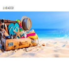 Laeacco Tropical Sea Beach Sand Luggage Box Starfish Holiday Baby Scenic Photo Background Photography Backdrops For Studio