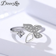 Prawdziwa czysta 925 Sterling Silver biżuteria cyrkon pierścionki z motylkiem dla kobiet Wedding Finger otwarty pierścień Anillos Anelli