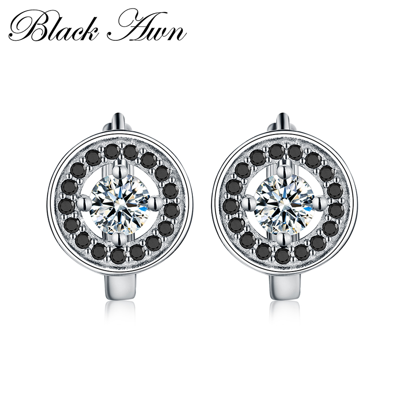 [BLACK AWN] Round 925 Sterling Silver Jewelry Engagement Hoop Earrings For Women Black Spinel Stone Bijoux T179