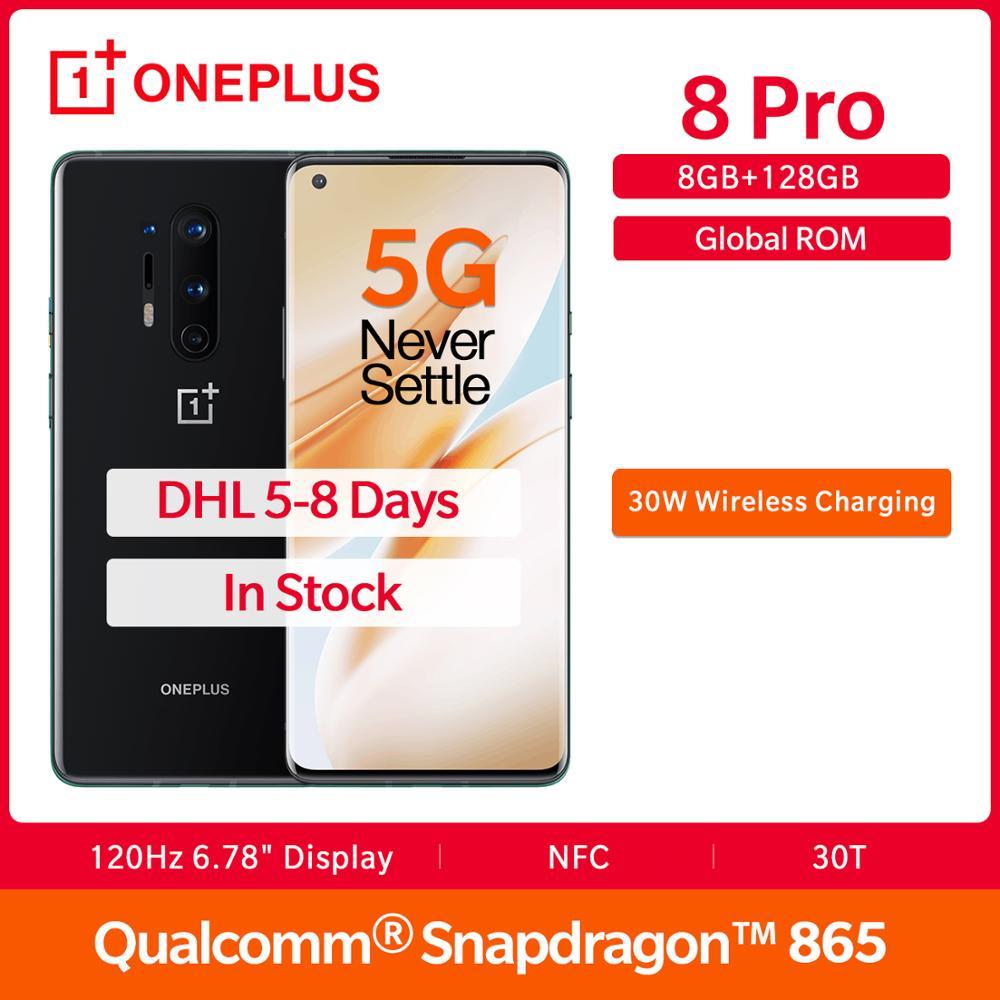 "In Stock OnePlus 8 Pro 5G Global Rom 8GB 128GB Smartphone Snapdragon 865 120Hz Display 6.78"" 30W 4510mAh 48MP Camera NFC UFS 3.0(China)"