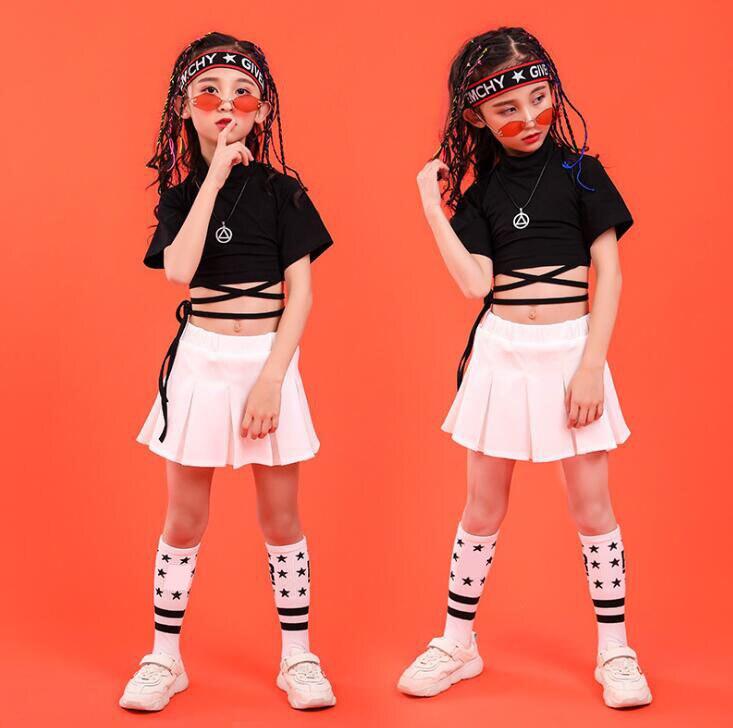 For 4 -16T Children Hip Hop Clothing Black T Shirt Top Crop White Skirt Girls Jazz Dance Costume Wear Ballroom Dancing Clothes