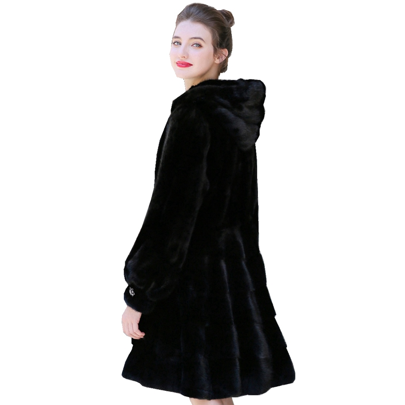 90cm Length Genuine Mink Fur Coats Jacket With Hoody Winter Real Women Fur Outerwear Coats Plus Size 4XL VF7080