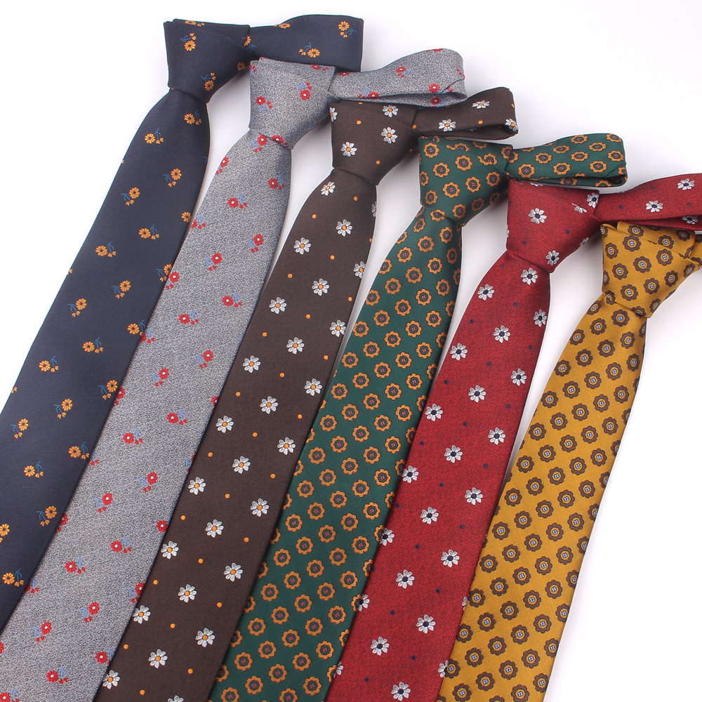 New Floral Neck Ties For Men Women Classic Jacquard Necktie For Wedding Business Suits Skinny Tie Slim Men Necktie Gravatas