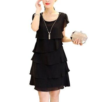 Summer Women Chiffon Dress Plus Size Dresses 5XL 2021 Ladies Elegant Female Vestido Cocktail Casual Vintage Party Black Red Pink 1