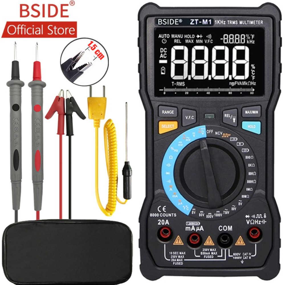 BSIDE ZT-M1 Auto/Manuale Multimetro Digitale EBTN Triple Display 8000 Conteggi Batteria VFC Onda Quadra in Uscita di Tensione di Prova Tester