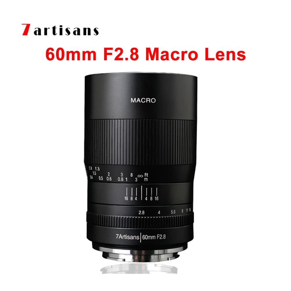 7artisans 60 мм F2.8 макро объектив 1:1 увеличение ручная фокусировка Камера объектив с фиксированным фокусным расстоянием для Canon Eos M/RF/Sony E NEX/Fuji/M43/...