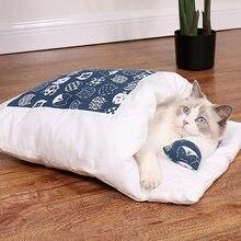 Kedi yatak uyku tulumu peluş sıcak ve hareketli kış Pet kedi ve köpek kapalı mağara büyük, orta ve küçük ev yumuşak yuva malzemeleri