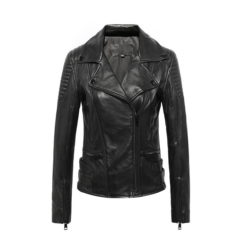 Genuine New Leather Jacket Women Jaqueta Couro Feminina Motorcycle Jackets Womens Real Leather Jackets And Coats WXF021 S S S