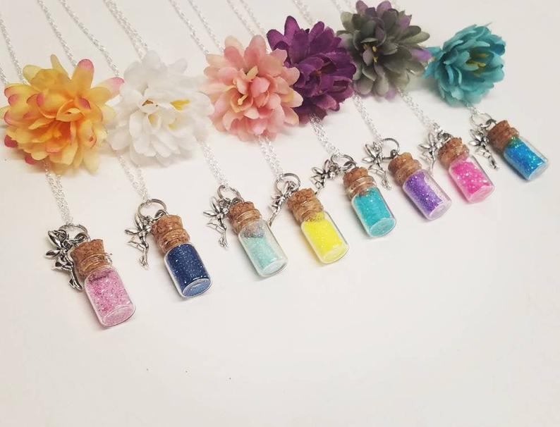 Colar de meninas, pixie pó, colar de charme, colar de cores personalizadas, joias para crianças, colar de meninas de flores, colar de poeira de fadas,