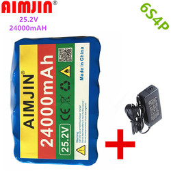 New 6S4P 24V 24Ah 18650 Battery Lithium Battery 25.2v 24000mAh Electric Bicycle Moped /Electric/Li Ion Battery Pack+1Charger