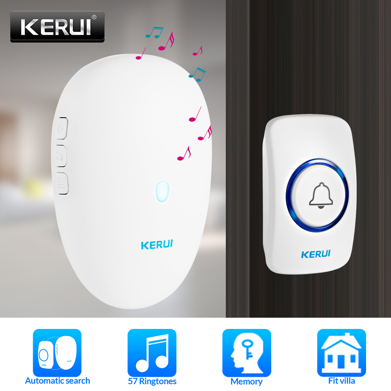 KERUI Smart Doorbell Home Security Welcome Wireless 57 Chime Doorbell 80m Remote Control EU US UK Plug Wireless Button Door Bell
