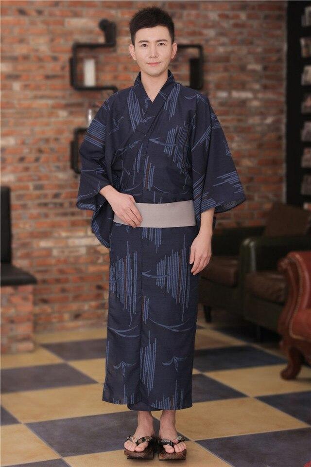 Japanese Vintage Men Kimono Robe Yukata With Obi Casual Homewear Bathrobobe