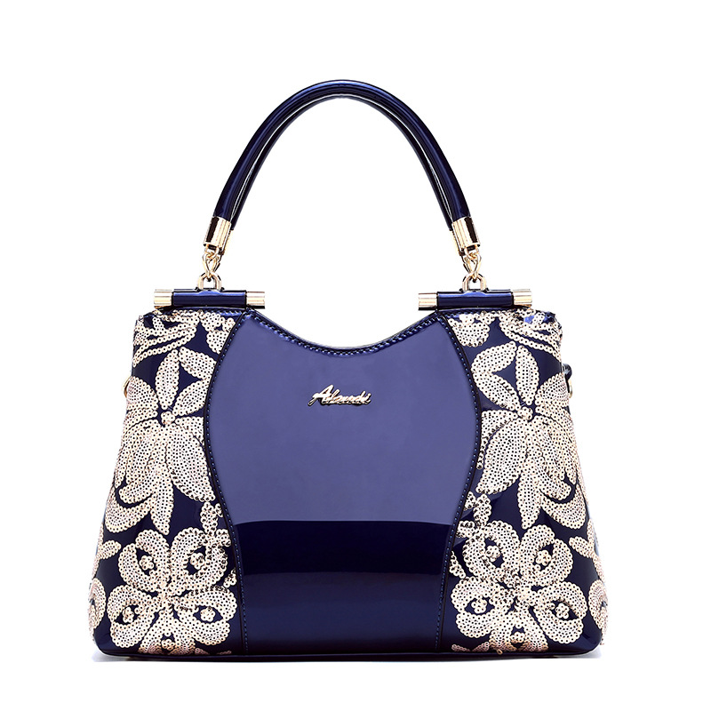 2019 Luxury New Women Patent Leather Handbags Sequin Embroidery Shoulder Crossbody Bag Famous Brand Designer Lady Messenger Tote
