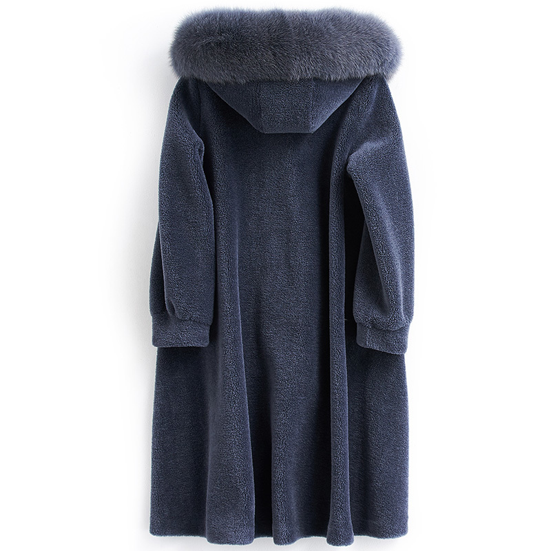 Coat Fur Real Female Sheep Shearling Fur Jackets Winter Jacket Women Fox Fur Collar 100% Wool Coats Long Jacket MY3988 S