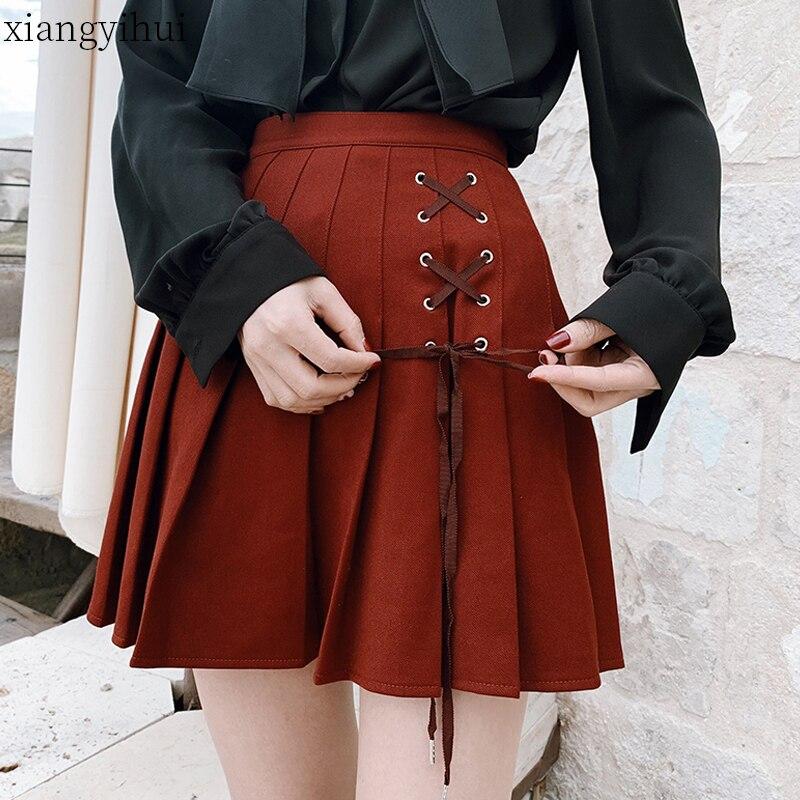 2019 Gothic Lolita Skirt Women Ladies Winter Black Red Mini Pleated Ball Gown Autumn High Waist Red Plaid Short Skirts