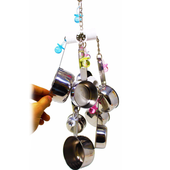 1pc Parrot Bird Stainless Steel Pot Chew Bite Toys Cage Pendant Decor Pet Supplies 1
