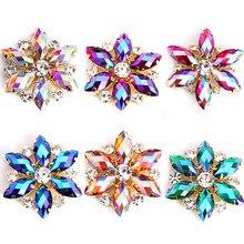 Круглые стразы с кристаллами AB Navette 3,5x3,5 см, 1 шт., Золотая основа, стразы для свадебного платья B0988