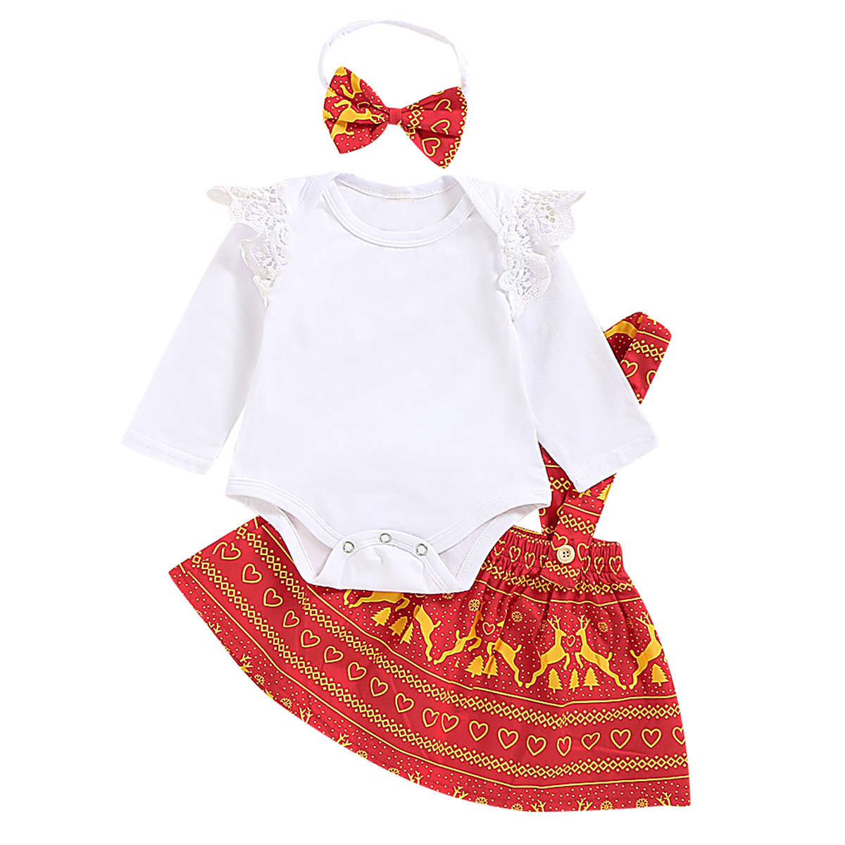 2019 Cute Newborn Christmas Sets Baby Girl Clothes Lace Ruffles Romper+<font><b>Bibs</b></font> <font><b>Skirt</b></font>+Headband 3Pcs Baby Girl Xmas Outfits 0-18M image