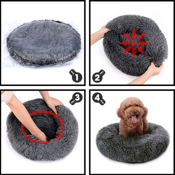 Round Plush Dog Bed House Dog Mat Winter Warm Sleeping Cats Nest Soft Long Plush Dog Basket Pet Cushion Portable Pets Supplies 3