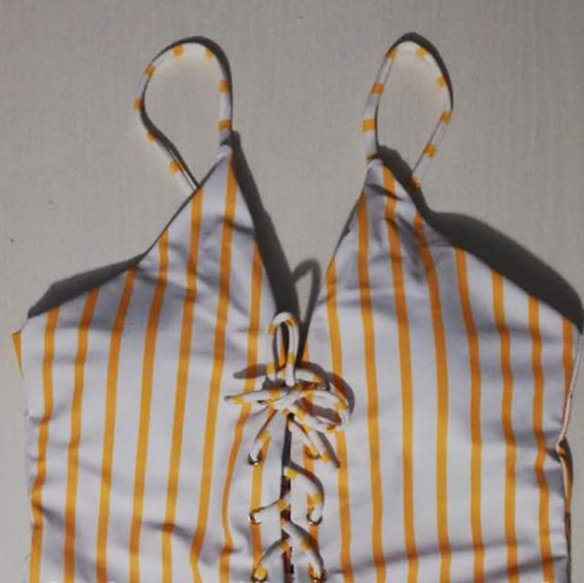 2020 été une pièce ensemble de maillots de bain femmes solide rayure imprimer maillot de bain Push upbodysuit plage Sexy mignon