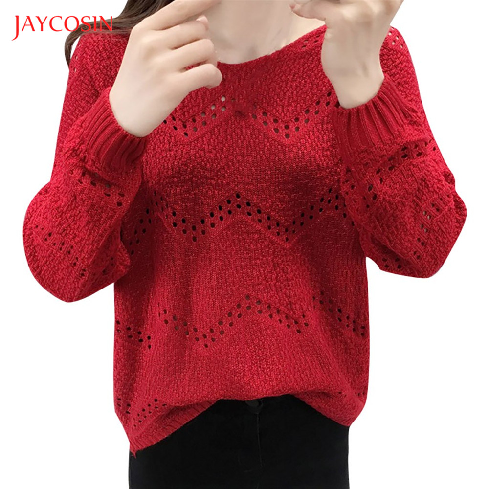 Jaycosin Clothes Sweater Fashion Women V-neck  Long Sleeve Knitting Warm Sweater Women Sexy Pullover Crocheted Knit Sweater