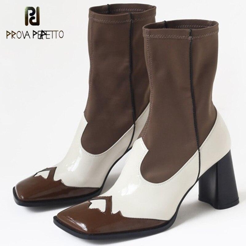 Prova Perfetto Outono Inverno Mulheres Mid-calf Botas de Couro Genuíno Slip-on Dedo Do Pé Quadrado de Salto Alto Botas Meias festa Sapatos Básicos