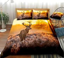 3D Elk Duvet Cover Set Sunrise Bedding Kids Boys Girls Animal Quilt Cover Deer Home Textiles Yellow Bed Set King 3pcs Dropship(China)