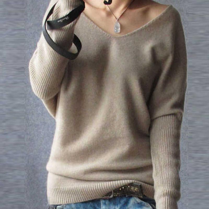 2019 봄 가을 캐시미어 스웨터 여성 패션 섹시한 v 넥 스웨터 루스 100% 울 스웨터 배트윙 슬리브 플러스 사이즈 풀 오버