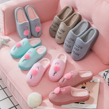 Купить с кэшбэком women's shoes 2019 women&men home slippers indoor winter warm    slippers  Couple slippers indoor home cute female slippers