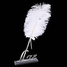 Libro de invitados pluma de avestruz, pluma para firmar con amor, juego de soporte de pluma, recuerdo de boda